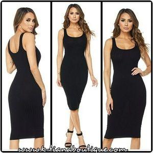 Black, ribbed, tank, midi dress